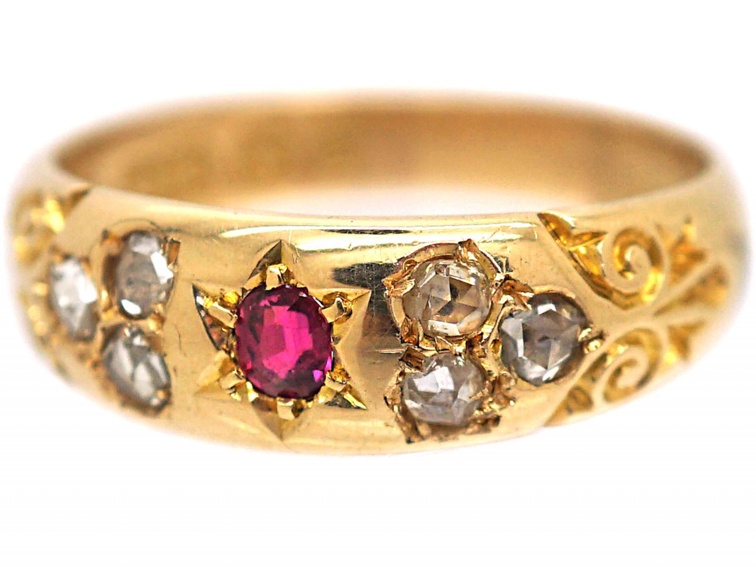 Victorian 18ct Gold, Ruby & Rose Diamond Gypsy Ring with Ornate Shoulders