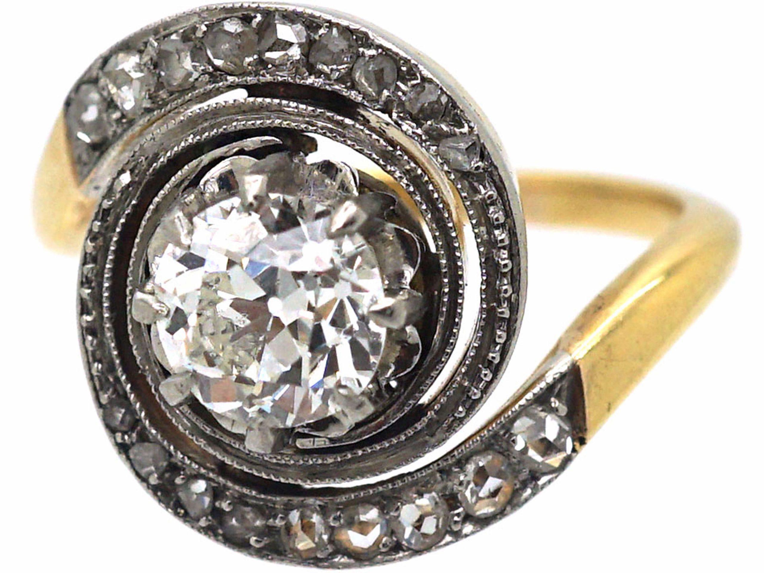 French Art Nouveau 18ct Gold & Platinum, Catherine Wheel Design Diamond Set Ring