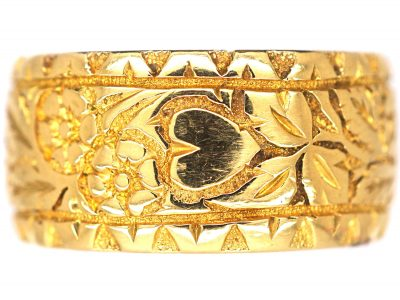 Edwardian 18ct Gold Wide Wedding Ring with Ivy Leaf & Heart Motifs