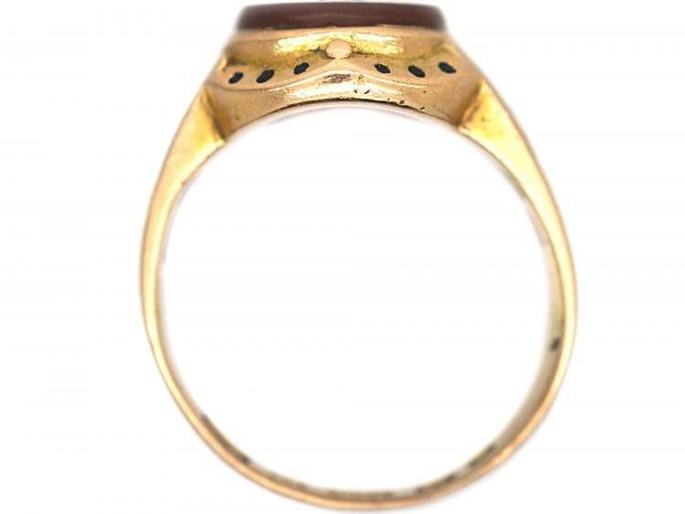 Victorian 15ct Gold Signet Ring with Intaglio of a Rearing Cat
