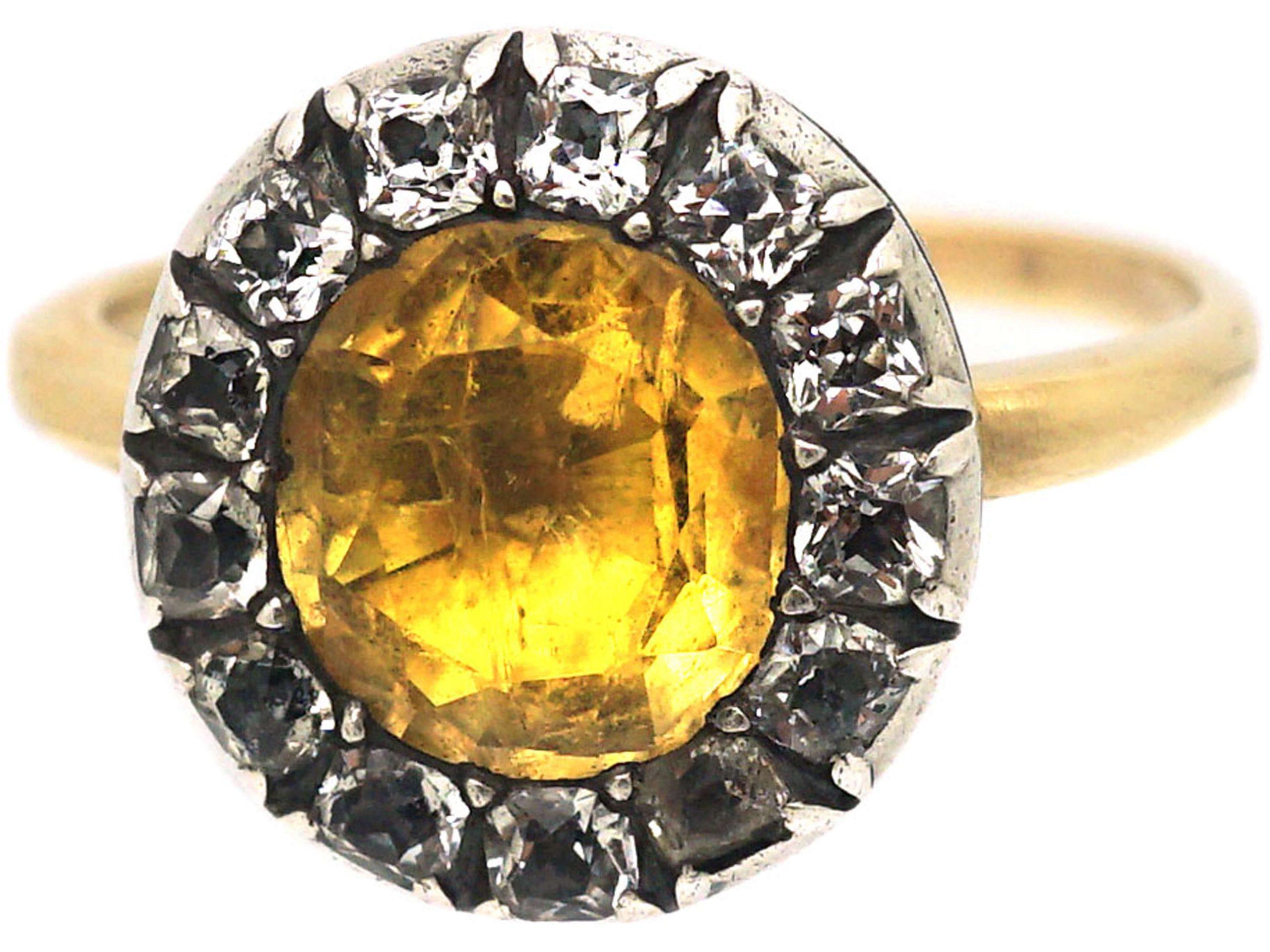 Georgian Gold, Foiled Citrine & White Topaz Cluster Ring
