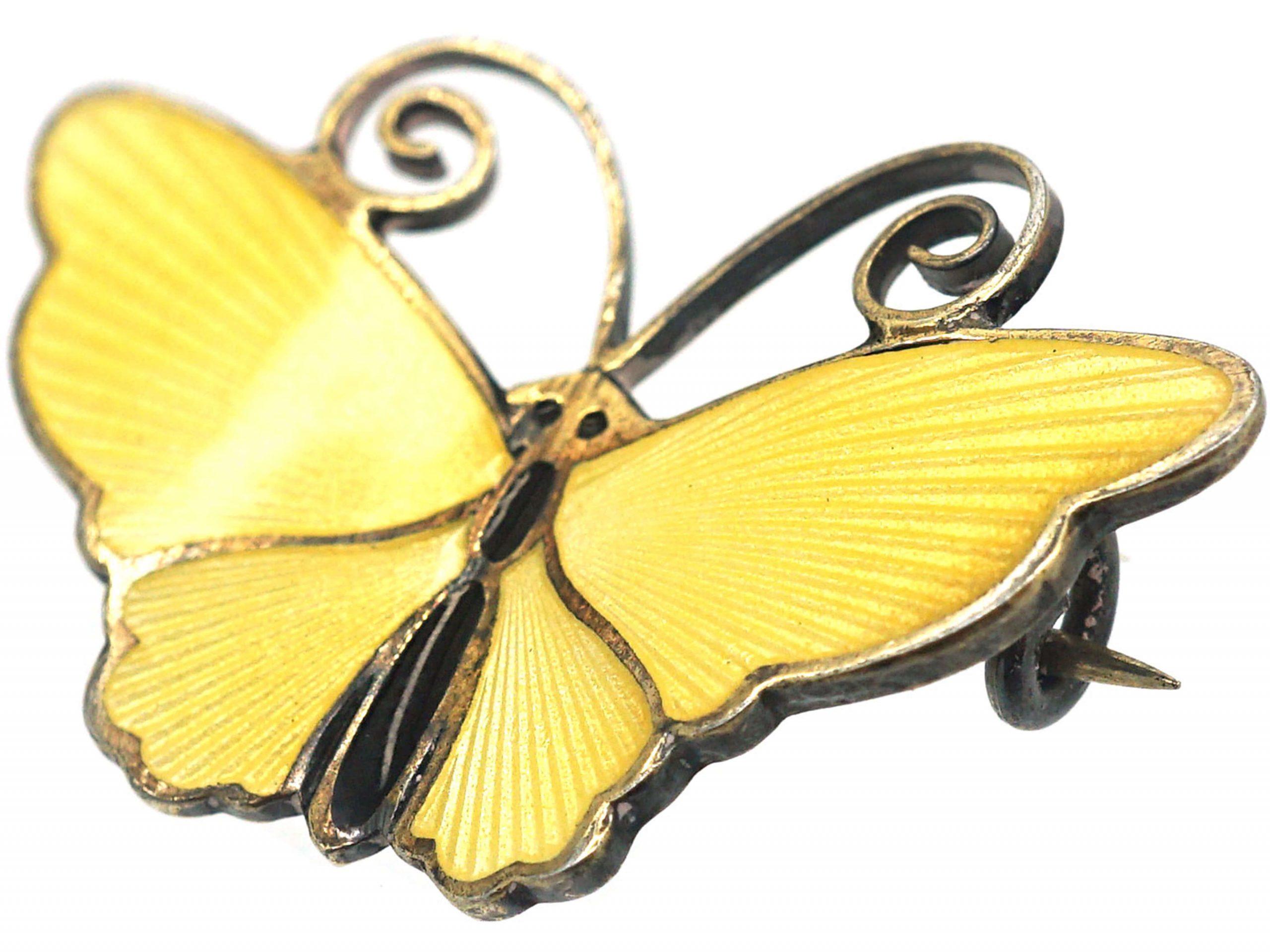 Silver & Yellow Enamel Butterfly Brooch by David Andersen