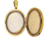 Victorian Large 18ct Gold Oval Shaped Locket set with a Sapphire, Ruby & Emerald in the Original Case