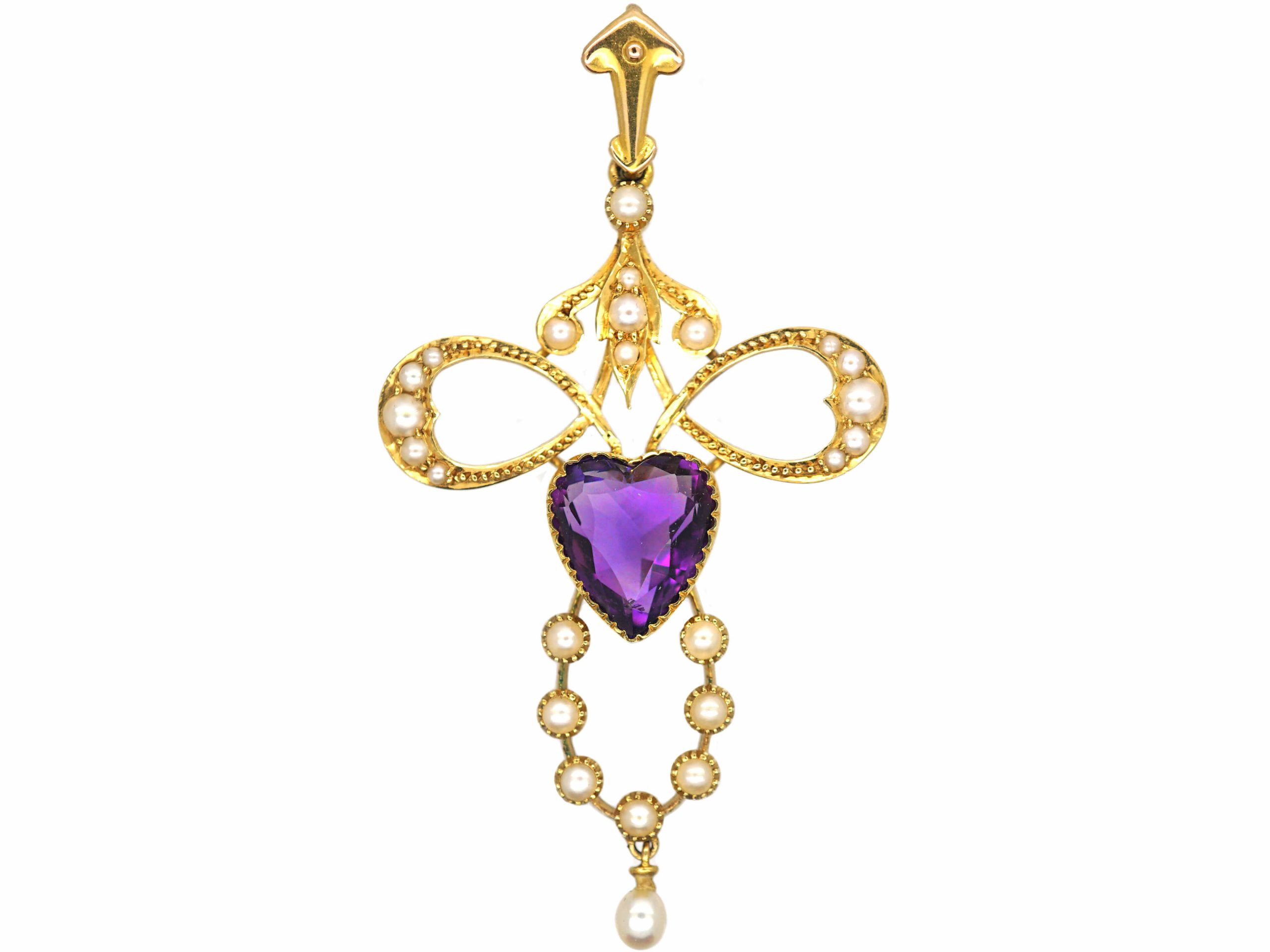 Edwardian 15ct Gold Pendant set with a Heart Shaped Amethyst & Natural Split Pearls in Original Case
