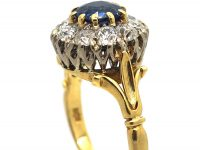 18ct Gold, Royal Blue Sapphire & Diamond Cluster Ring