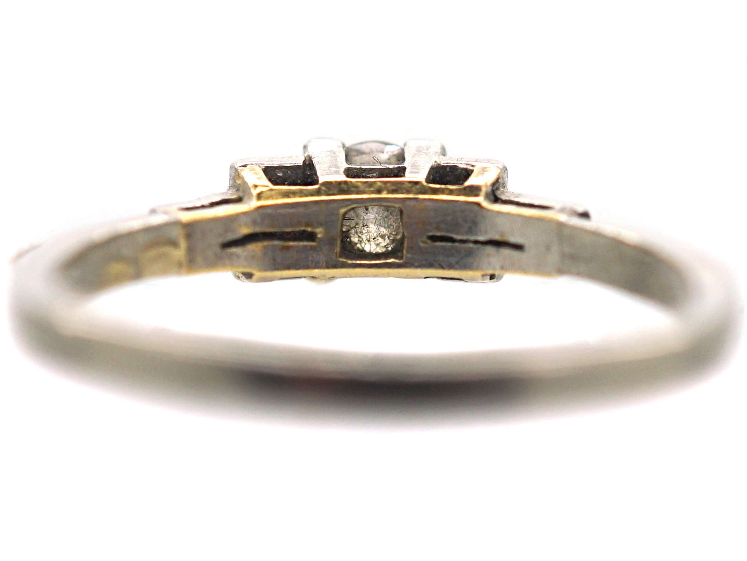 Art Deco 18ct White Gold, Diamond Solitaire Ring with Step Cut Diamond set Shoulders