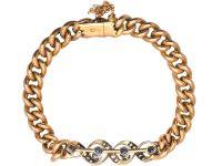 Edwardian 9ct Gold Curb Bracelet set with Sapphires & Diamonds