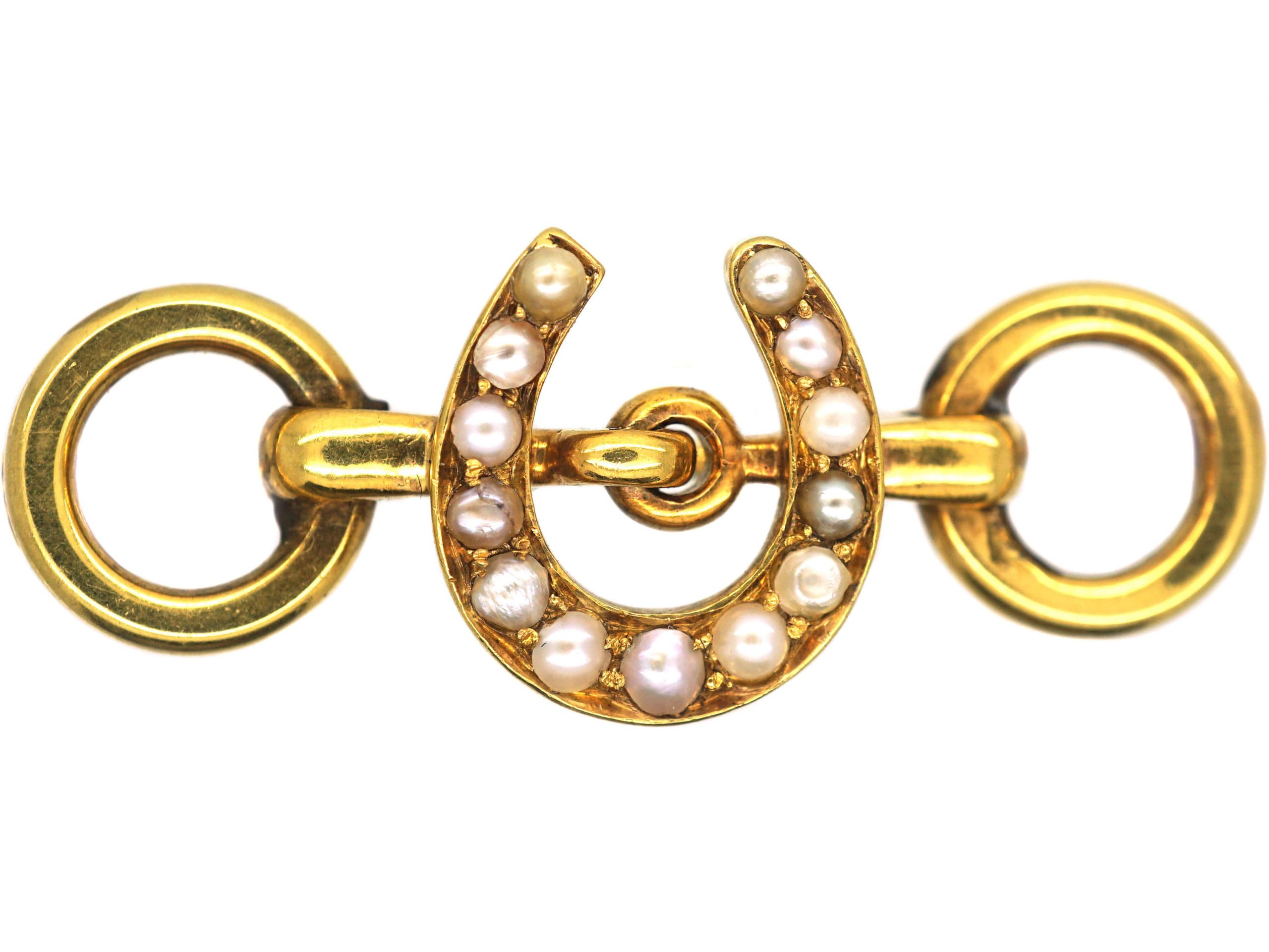 Victorian 18ct Gold Horseshoe and Bit Brooch set with Natural Split Pearls