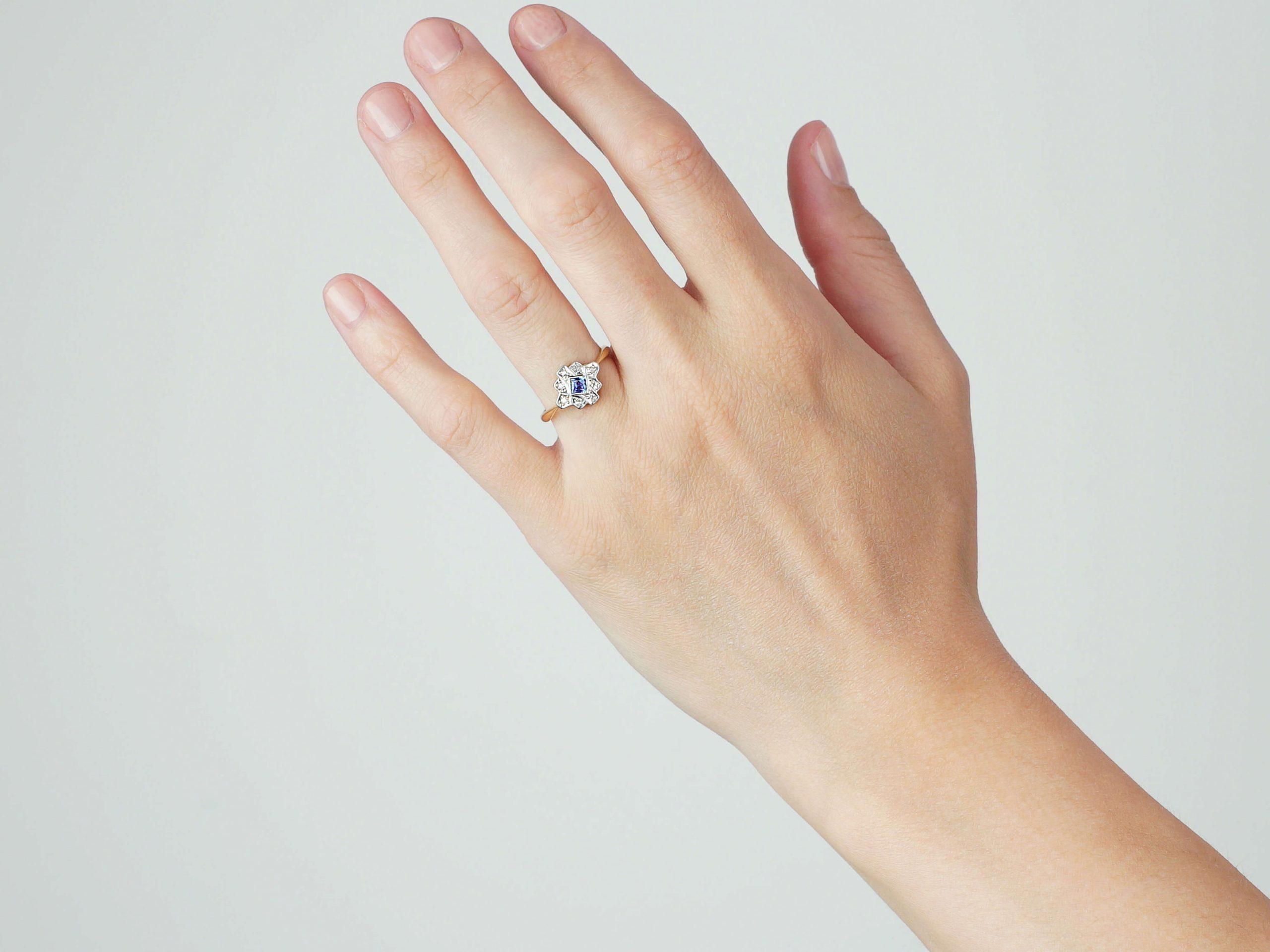 Art Deco 18ct Gold & Platinum, Sapphire & Diamond Geometric Ring