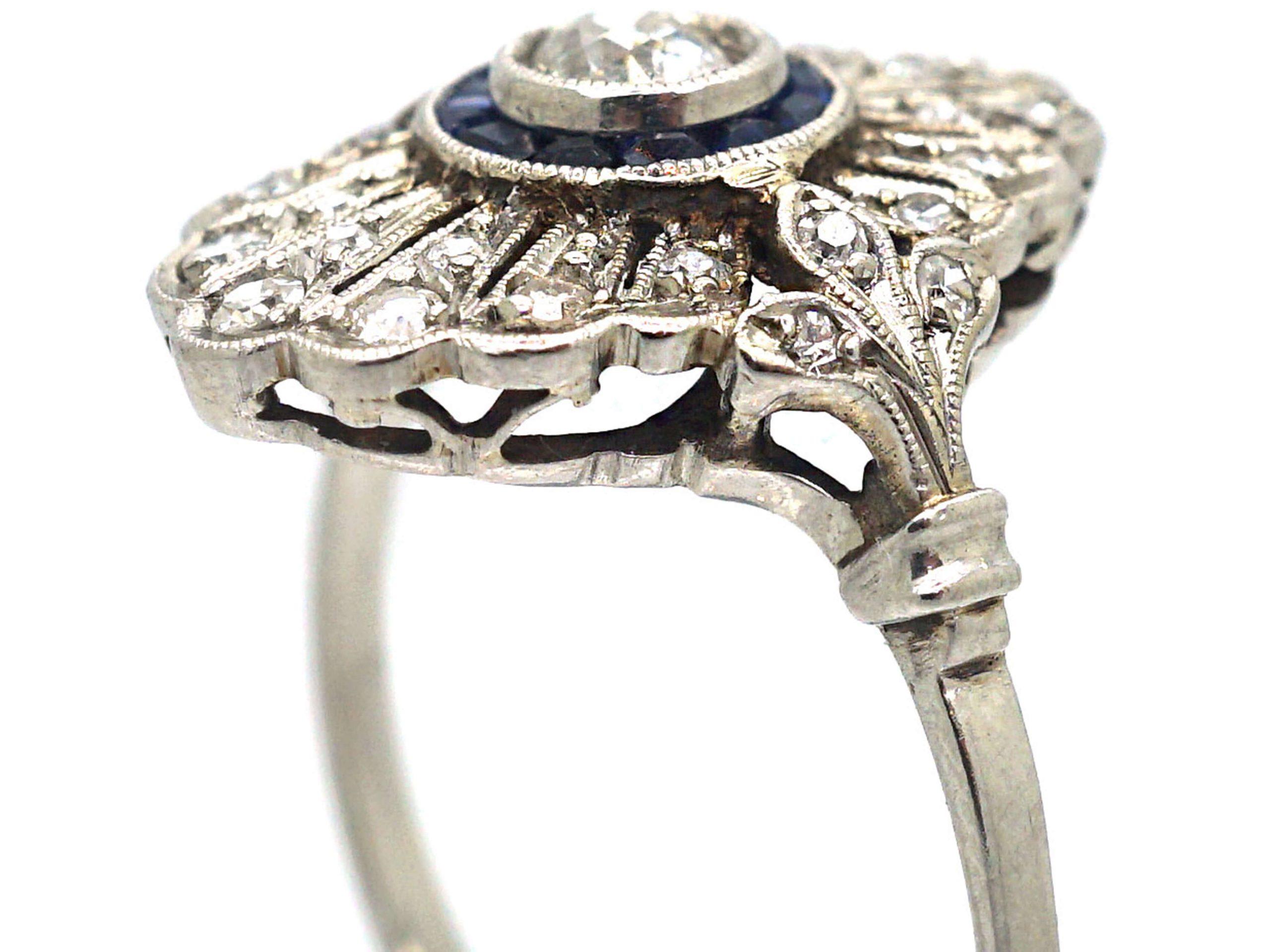 Art Deco Platinum, Sapphire & Diamond Target & Feather Style Ring