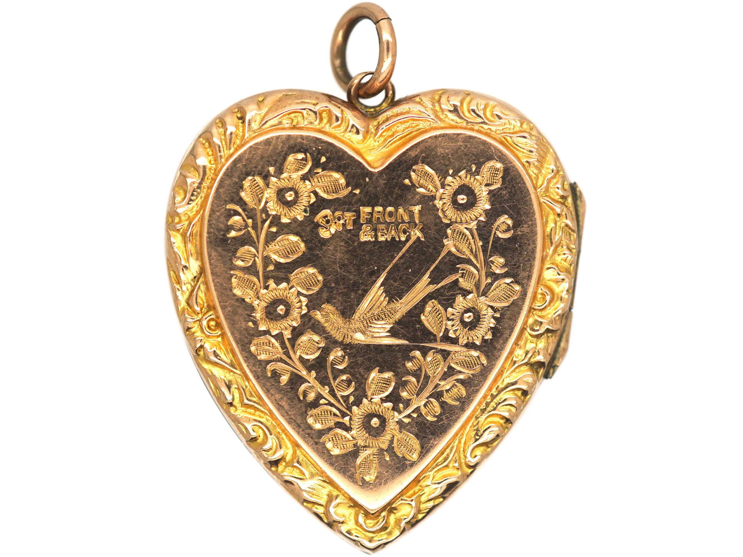 Edwardian 9ct Back & Front Heart Shaped Locket with Swallow & Roses Motif