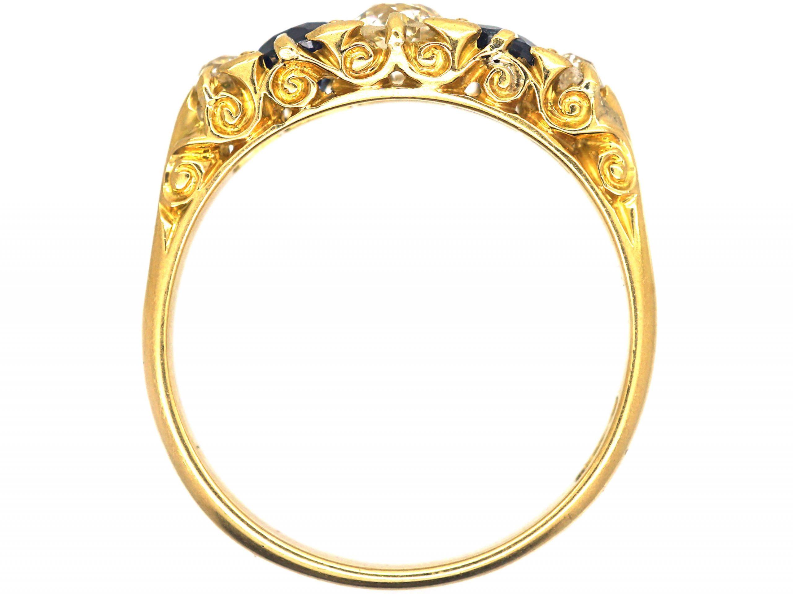Edwardian 18ct Gold, Sapphire & Diamond Five Stone Ring