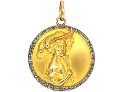 Edwardian 18ct Gold & Rose Diamond Locket with Lady with Fan