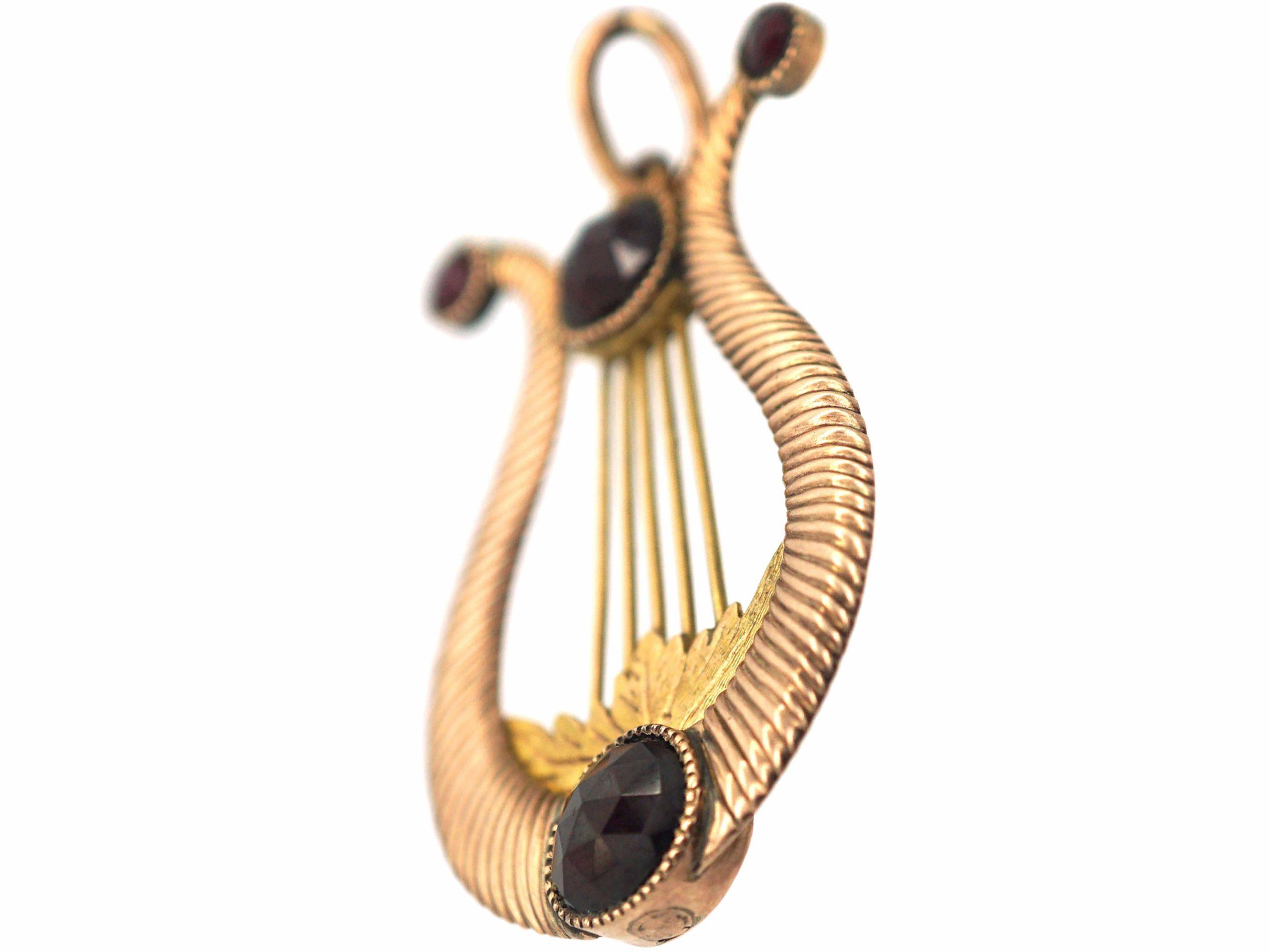 Georgian 9ct Gold & Rose Cut Garnet Lyre Pendant