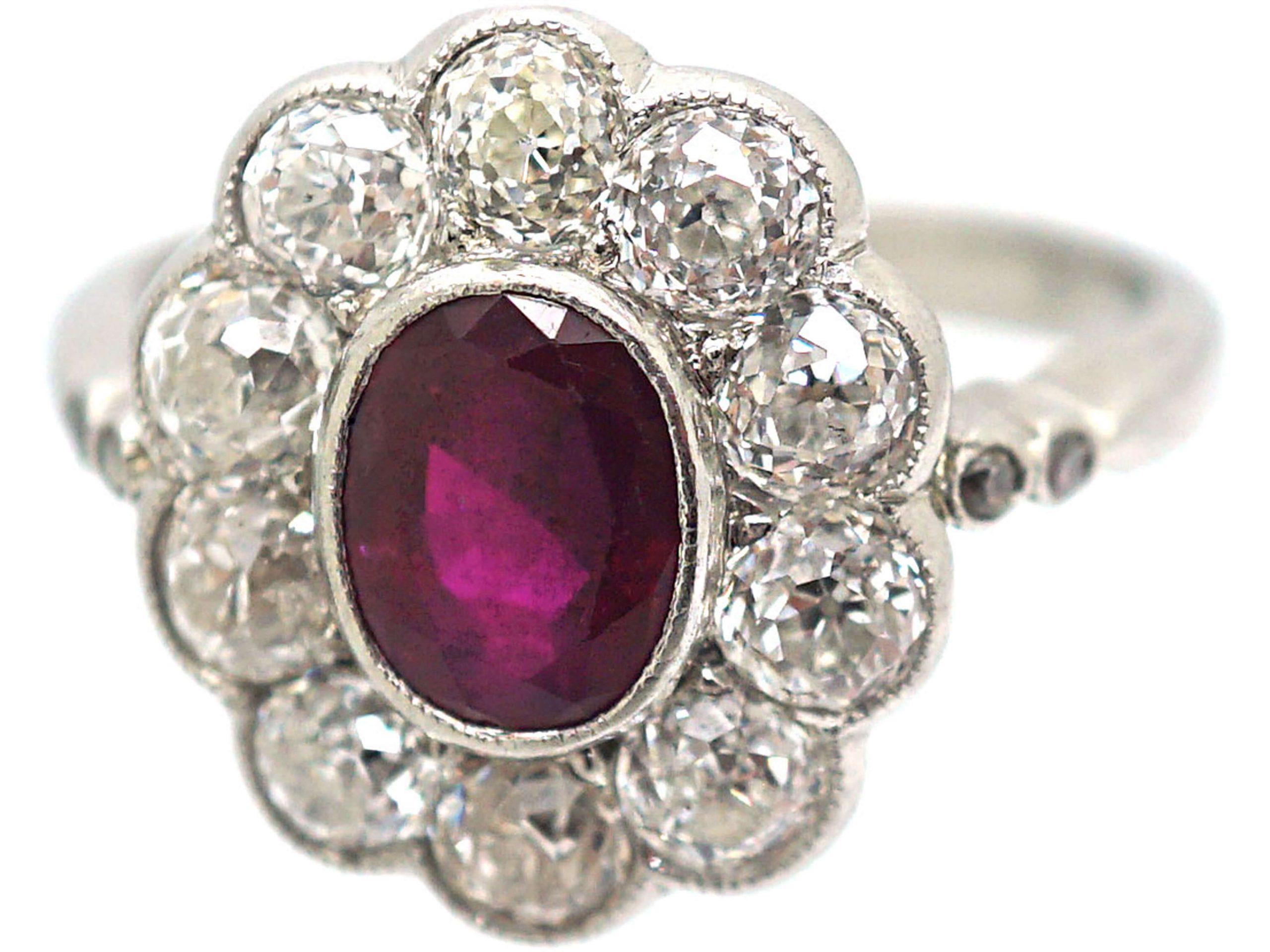 Art Deco 18ct White Gold, Burma Ruby & Diamond Oval Cluster Ring