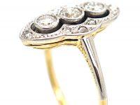 Art Deco 18ct Gold & Platinum, Diamond Navette Shaped Ring
