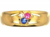 Edwardian 18ct Gold Three Leaf Clover Ring set with a Sapphire, Ruby & a Diamond