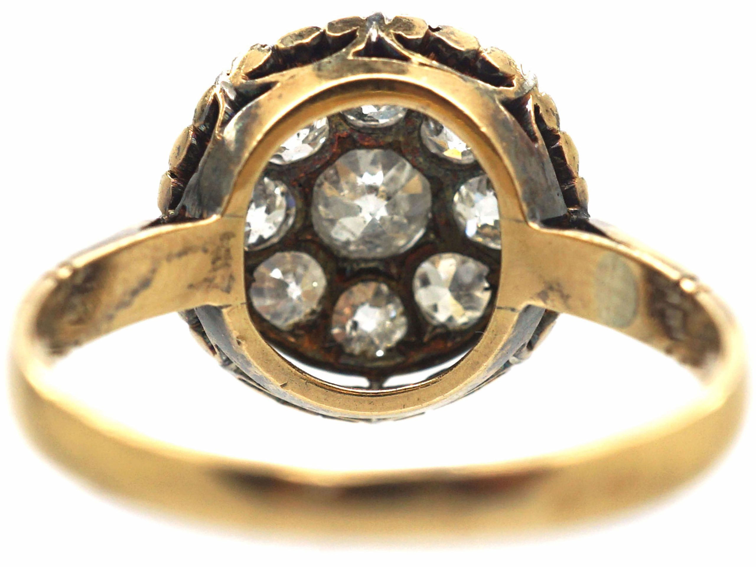 Art Deco French 18ct Gold & Platinum, Diamond Cluster Ring with Pie Crust Border
