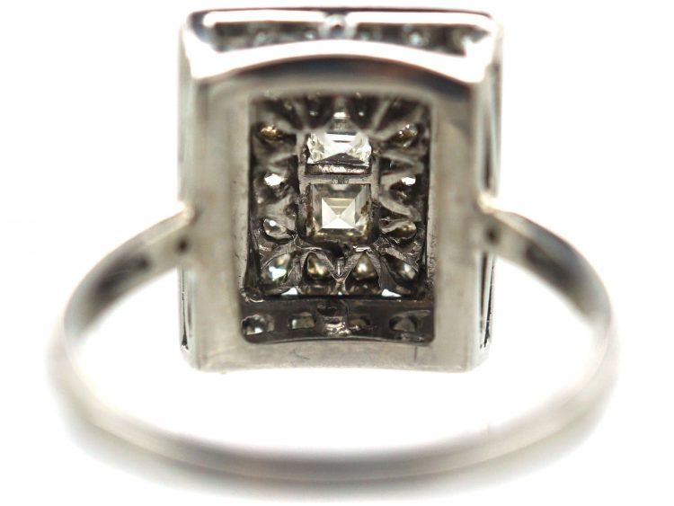Retro Platinum & Diamond Rectangular Shaped Ring