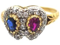 Victorian 18ct Gold Double Heart Ring set witha Ruby, Sapphire & Diamonds
