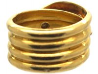 Victorian 18ct Gold Snake Ring with a Diamond in his Head