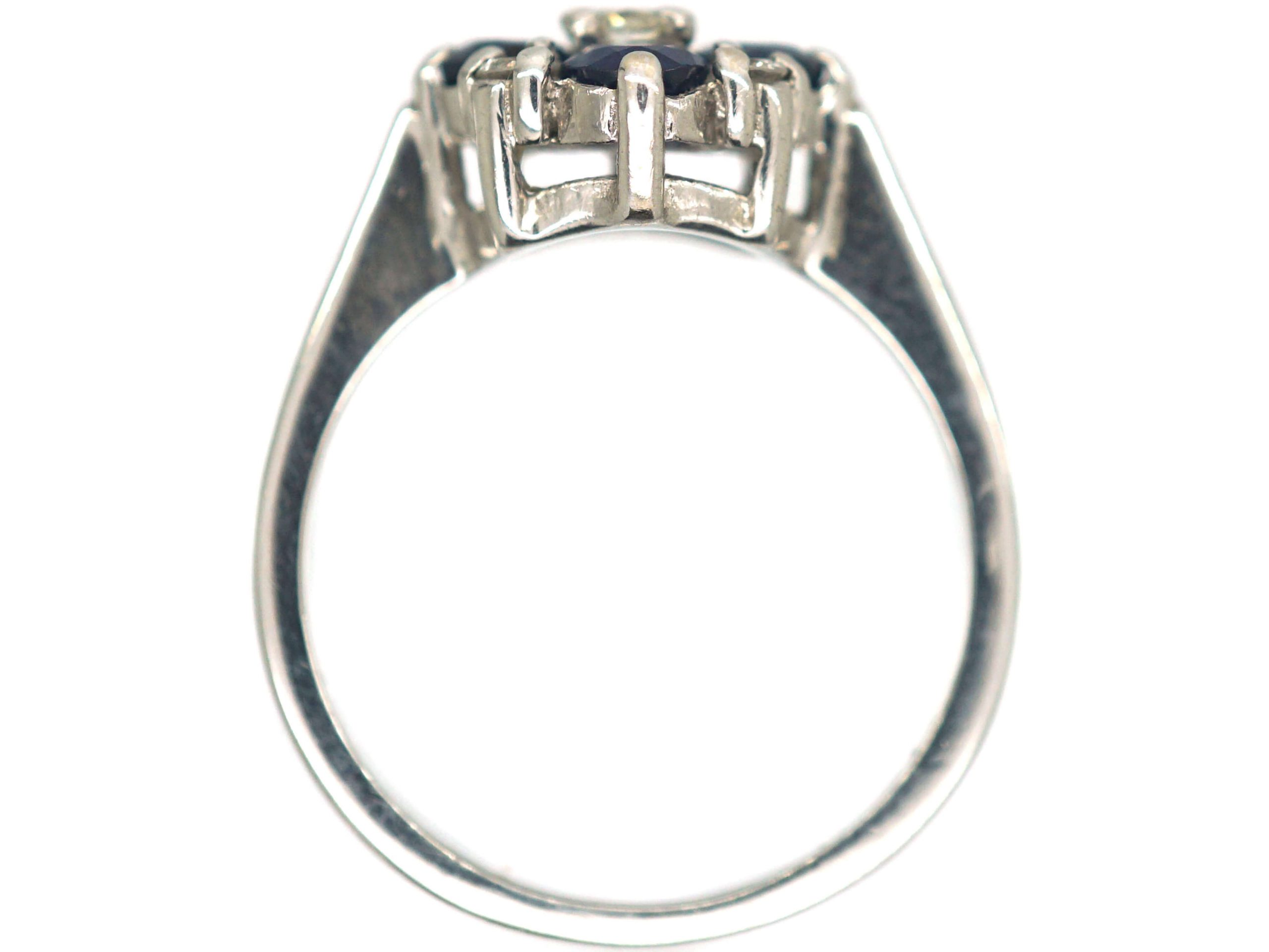 18ct White Gold, Sapphire & Diamond Cluster Ring