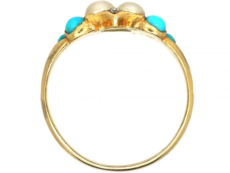 Regency 15ct Gold, Turquoise, Natural Split Pearl & Rose Diamond Ring