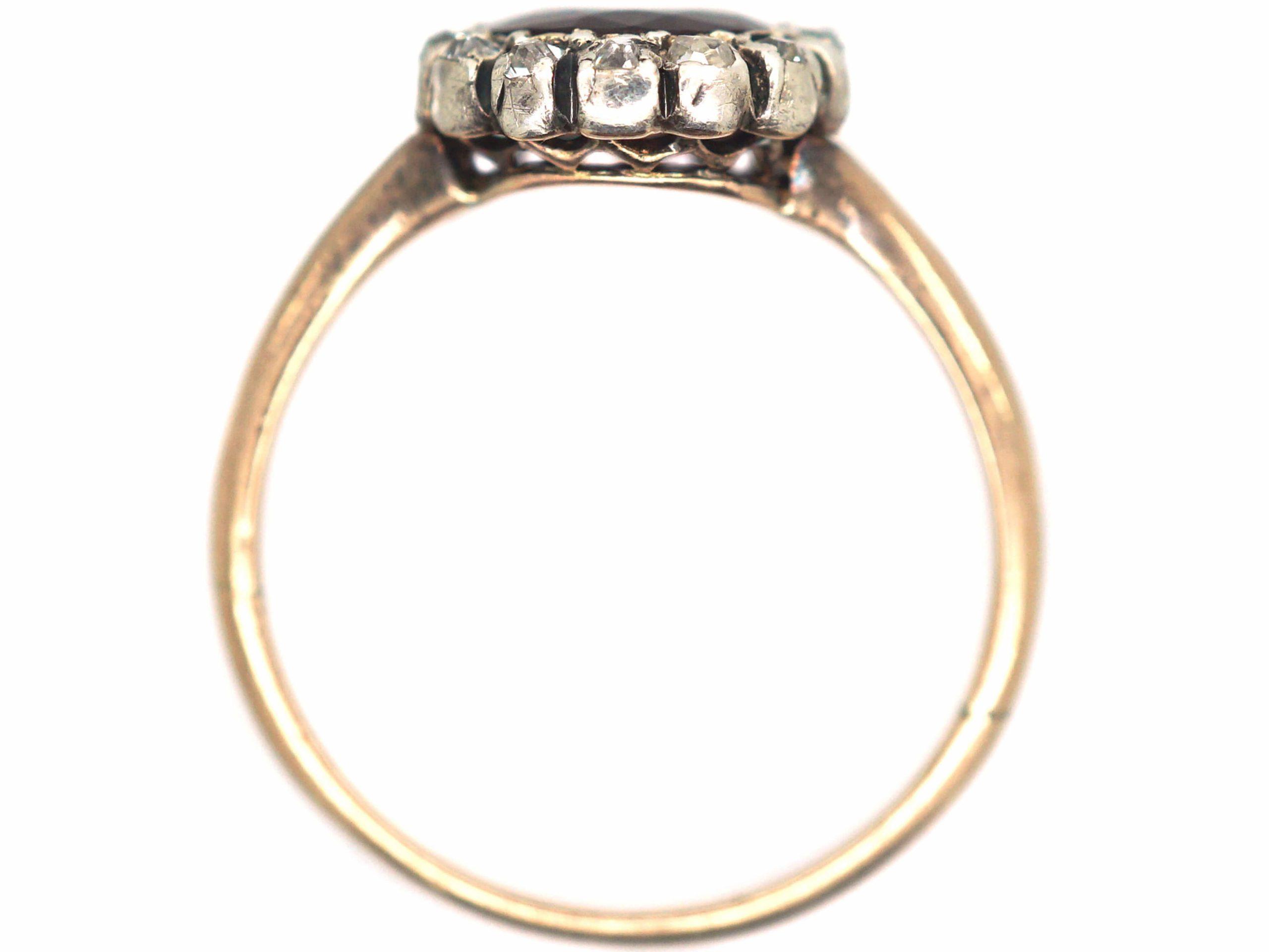 Victorian 14ct Gold, Garnet & Diamond Oval Cluster Ring