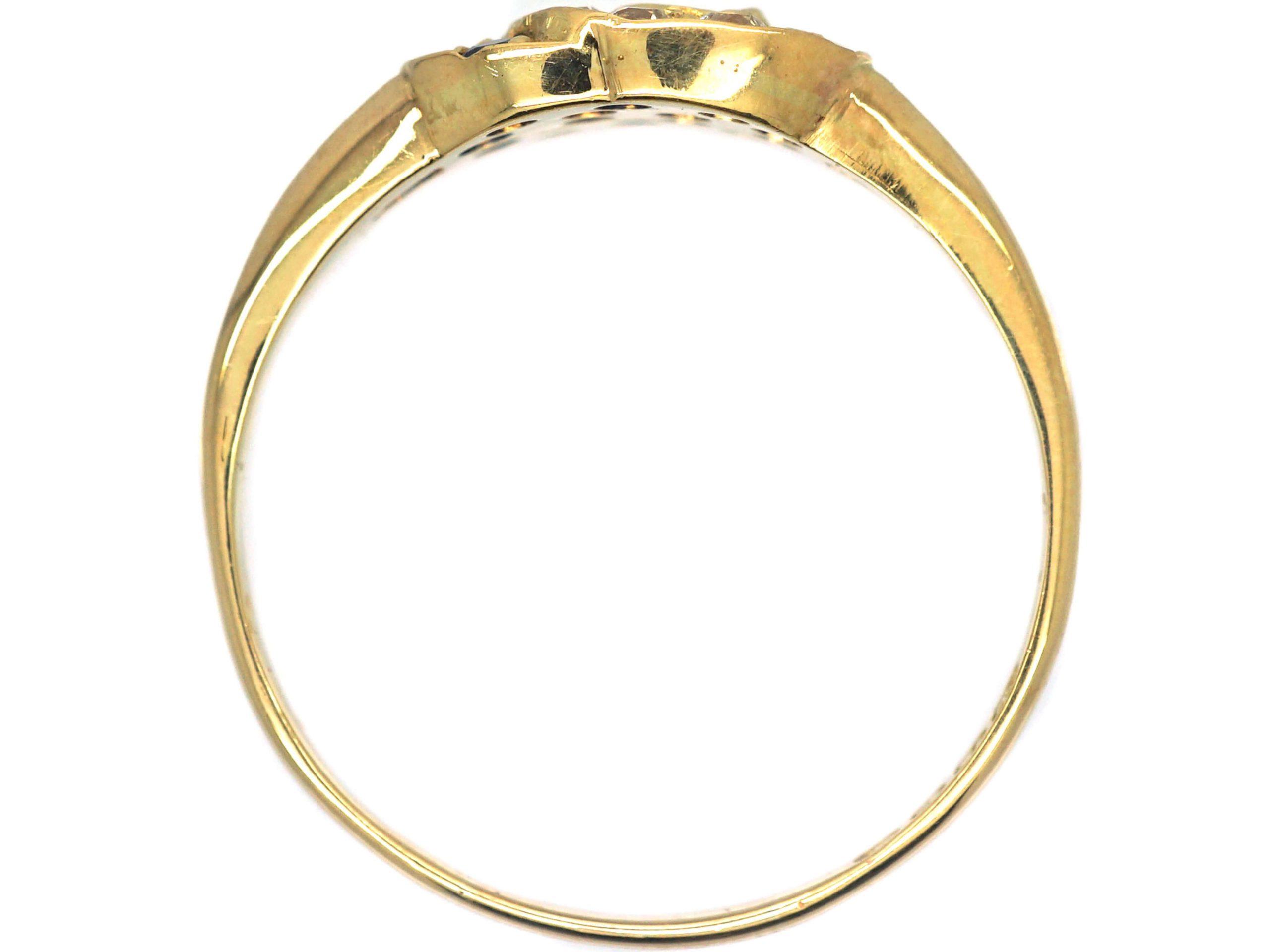 Edwardian 18ct Gold, Interlocking Circles Ring set with Sapphires & Diamonds