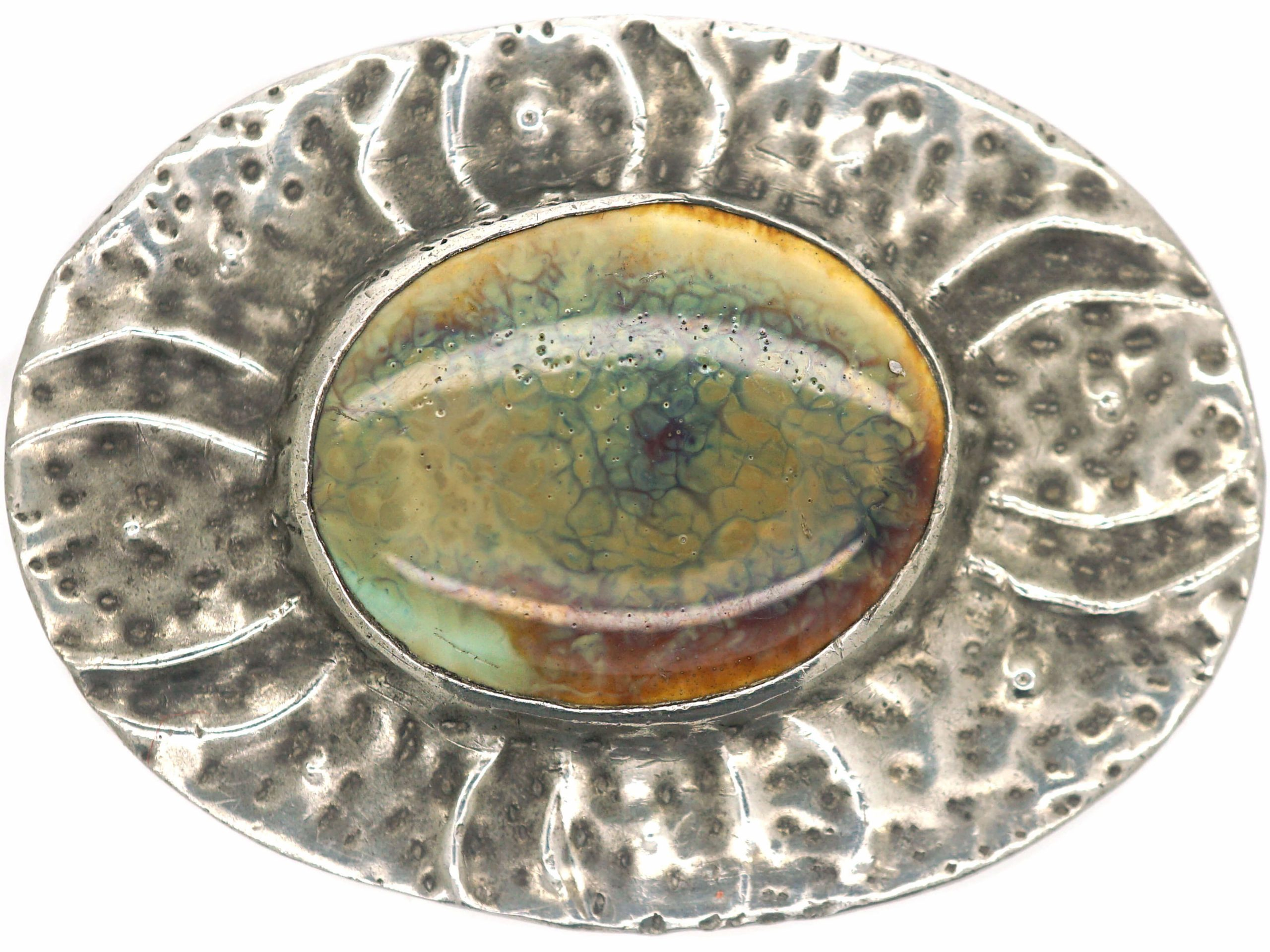 Arts & Crafts Ruskin Pewter & Enamel Brooch