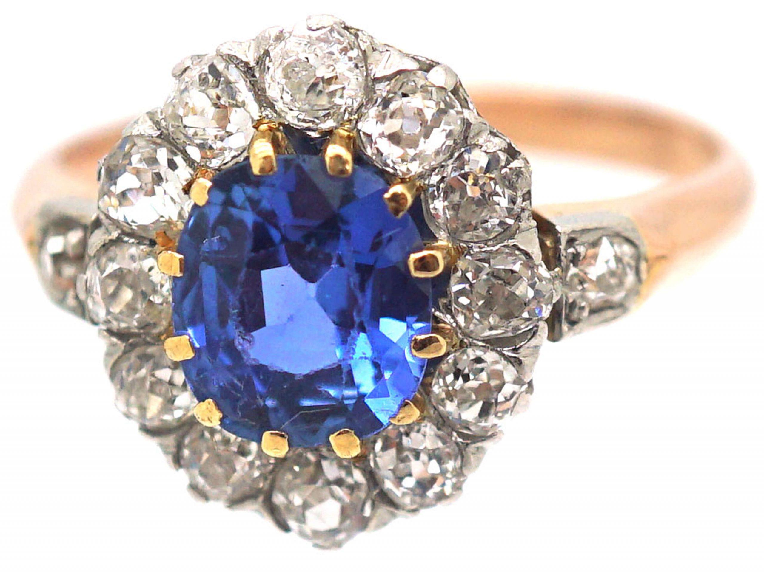 French Belle Epoque 18ct Gold, Platinum, Ceylon Sapphire & Diamond Cluster Ring with Diamond Set Shoulders