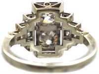 Art Deco Platinum, Two Stone Diamond Ring with Step Cut Shoulders set with Diamonds