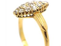 Victorian 18ct Gold Marquise Shaped Ring set with Diamonds