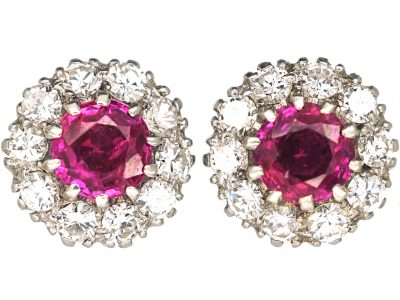 18ct White Gold, Ruby & Diamond Cluster Earrings