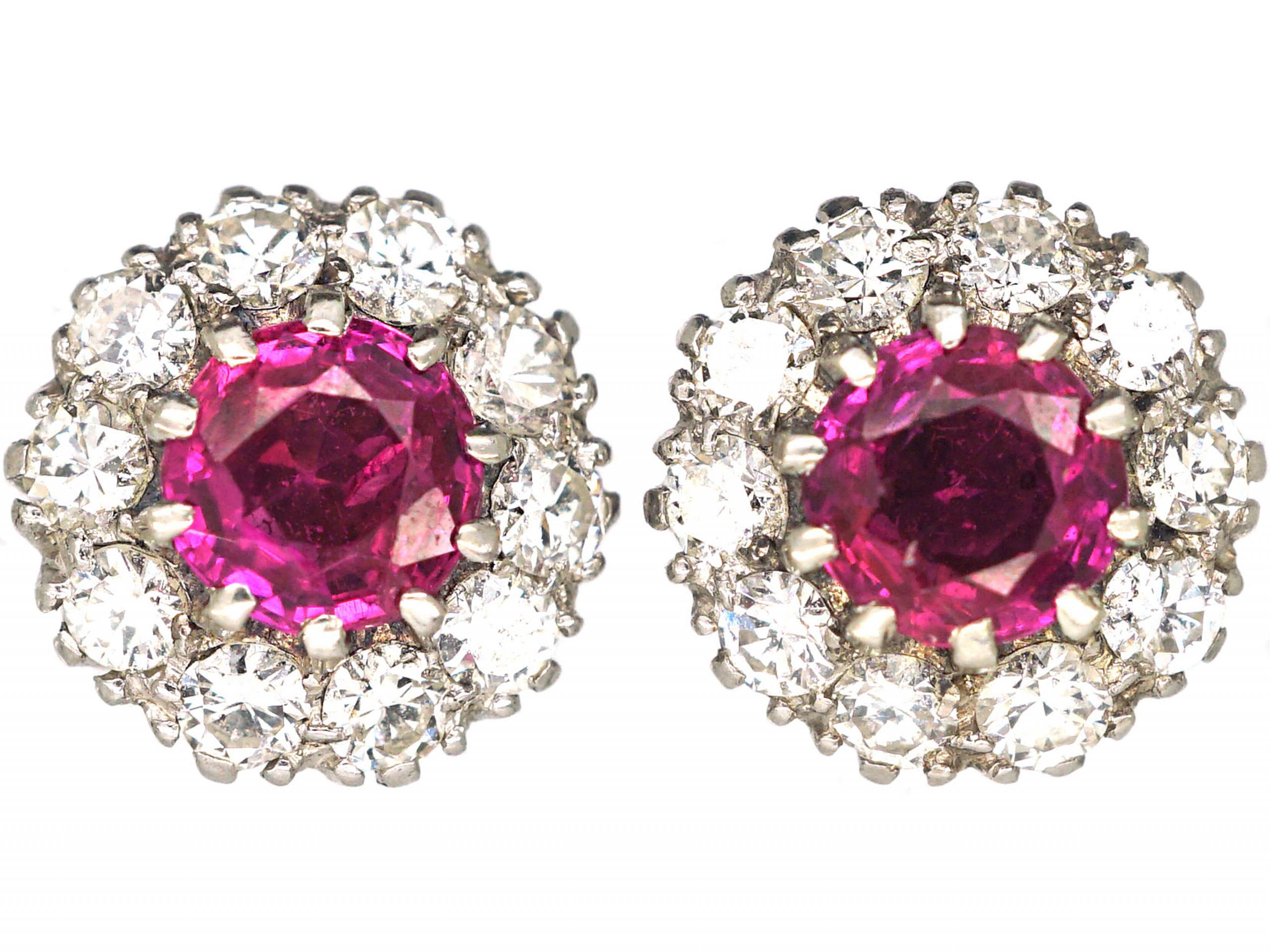 18ct White Gold, Ruby & Diamond Cluster Earrings