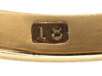 Victorian 18ct Gold, Three Stone Diamond Carved Half Hoop Ring