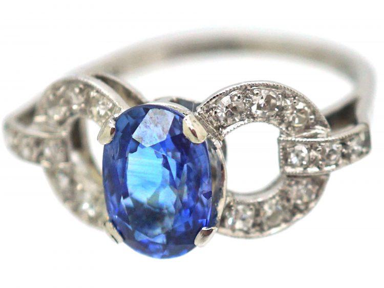 Art Deco Platinum, Sapphire & Diamond Stylised Bow Ring