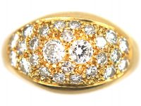French 18ct Gold Bombe Ring with Pave Set Diamonds