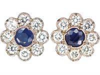 18ct White Gold, Sapphire & Diamond Flower Cluster Earrings
