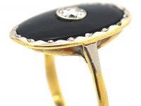 Art Deco 18ct Gold, Onyx & Diamond Oval Shaped Ring