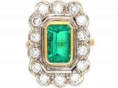 18ct Gold Emerald & Diamond Rectangular Ring