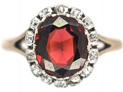 Victorian 14ct Gold, Garnet & Diamond Oval Cluster Ring