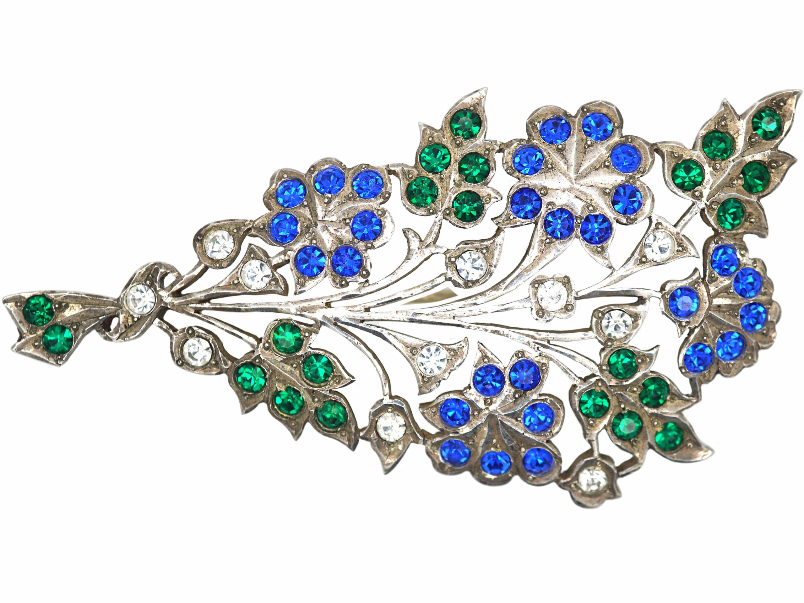 Victorian Silver Flower Spray Brooch set with Coloured Paste