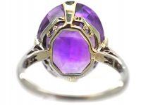 Art Deco Platinum, Rose Cut Amethyst & Diamond Ring