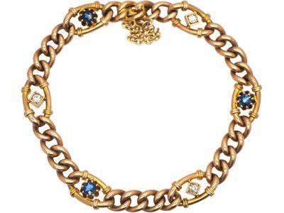 Edwardian 9ct Gold, Sapphire & Diamond Curb Bracelet