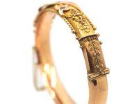 Edwardian 9ct Gold, Sapphire & Diamond Etruscan Style Bangle