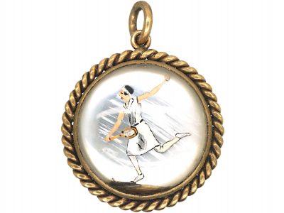 Art Deco 18ct Gold, Reverse Intaglio Rock Crystal Pendant of a Champion Tennis Player Susan Lenglan