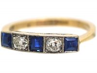 Art Deco 18ct Gold & Platinum, Square Cut Sapphire & Diamond Ring