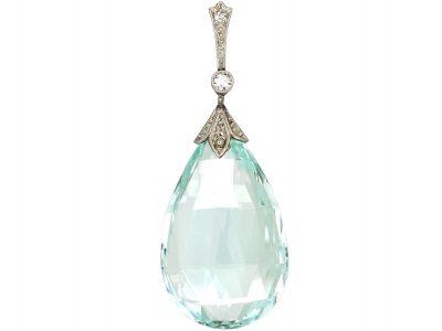 Art Deco 15ct Gold & Platinum, Aquamarine & Diamond Pendant
