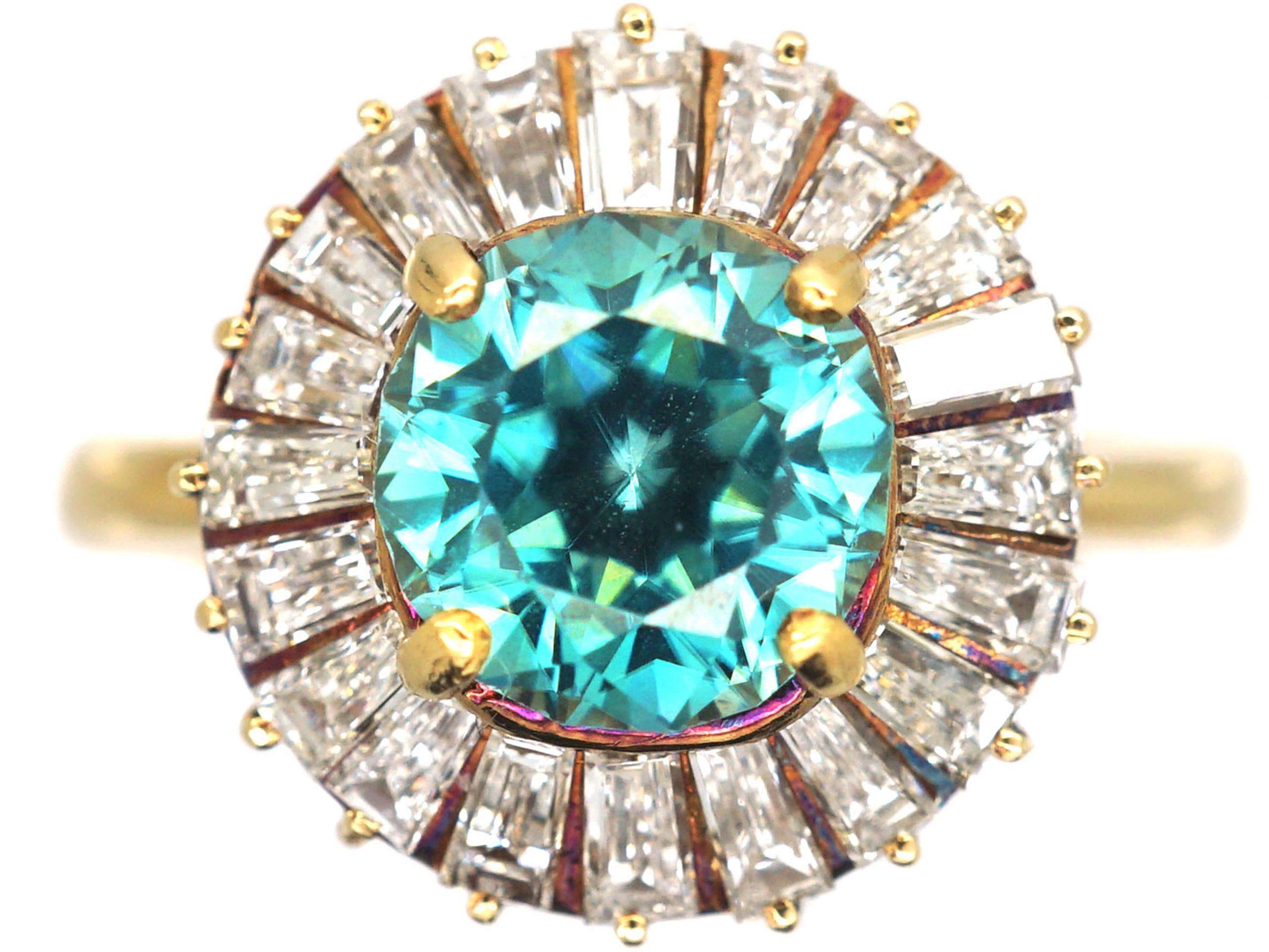18ct Gold, Zircon & Tapered Baguette Diamond Ballerina Ring